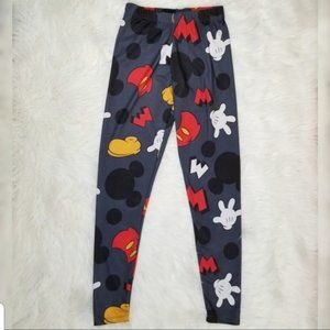 Disney Mickey Mouse Kids Leggings Gray Size Small